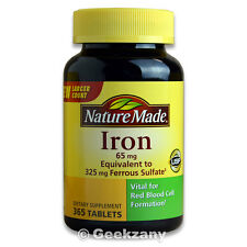 Nature Made Iron 65 mg Ferrous Sulfate 365 Tablets Dietary Supplement - New