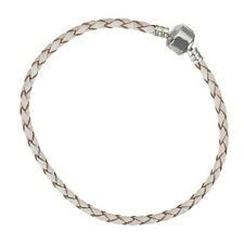 Unisex Cream Braided Leather Bracelet With Snap Clasp 22cm - Pack of 1 (B96/20)