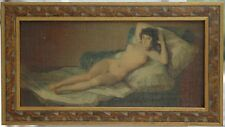 Beautiful Vintage After Goya Giclee? on Canvas La Maja Desnuda in Carved Frame