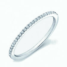 Round Diamond Thin Micro Pave Set Half Eternity Ring in White Gold0