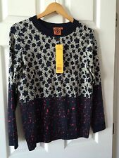 TORY BURCH WOMENS ABIGAIL SWEATER  NWT Size L Normandy Blue