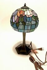 "Tiffany Style  Lamp Stained Glass Victorian Art 2-Light 17"" Tulip Hand Made USA"