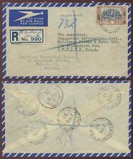 CEYLON ST ANTHONYS REGISTERED AIRMAIL to GB...1R SOLO FRANKING 1952