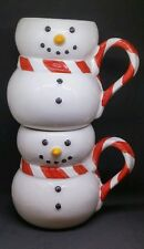 William Sonoma Christmas Coffee Set of 2 Mugs Cups Holiday Snowman Cocoa