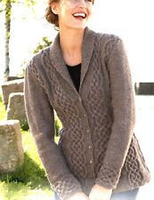"Womans Ladies Celtic Cardigan Cables/Shawl Collar 36"" - 50"" DK Knitting Pattern"