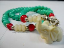 Tibetan Buddhist Chinese Glass Mala Bracelet/Necklace Prayer Elephant Bead #AA
