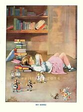Postcard: Vintage print - Girl w/ books reading Alice in Wonderland - Repro.