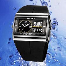 OHSEN Unisex Waterproof Digital LCD Alarm Date Mens Military  Rubber Watch BE