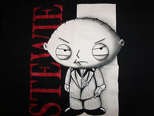 Family Guy TV Show Stevie Character In Suit Black Graphic Print T Shirt - XL