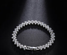 18K White Gold Tennis Bracelet made w Authentic Swarovski Crystal Clear Stone 7""