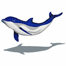 Mosaic Bottlenose Dolphin Downward Tile Swimming Pool Patio Deck Wall Bath Walk