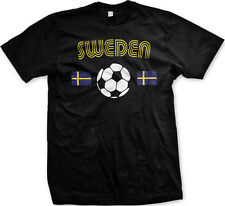 Sweden European National Soccer Team Blue and Yellow  Mens T-shirt
