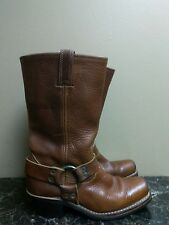 Womens FRYE Harness Square toe brown leather boots size 7.5  tan used