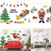 Merry Christmas Xmas Tree Santa Claus Wall Sticker Window Home DIY Decal Decor