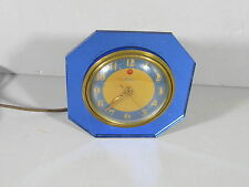 Vintage ART DECO Blue Mirror Telechron Clock / Working!