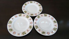 Sakura Majesticware Stoneware Dried Flowers Bread Plates x3 white w Leaves/Petal