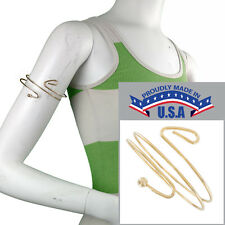 USA Made Upper Arm Bracelet Gold Tone Cuff Band Armlet Double Curve Ball