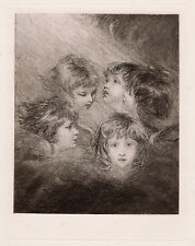 "Enchanting Joshua REYNOLDS 1800s Antique Etching ""Heads of Angels"" FRAMED COA"