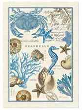 SEASHORE Seashells  Crab Cotton Kitchen Towel by  Michel Design Works