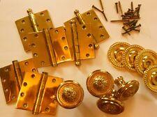 Vintage Solid Brass Door Accessories, Handles Hinges Screws, Parts