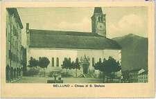CARTOLINA d'Epoca BELLUNO città - CHIESA ST STEFANO 1916