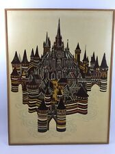 """Lino-Cut Print Gothic Town II Signed By Artist  J Gillick 1970 30"""" x 39"""""""