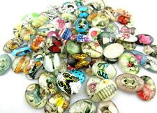 Free ship 50pcs Radom Mixed Pattern Oval Glass Dome Seals Cabochon 18x13mm