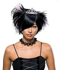 Women's Short Spiky Black Emo Princess Gothic Wig with Tiara