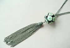 ACCESSORIZE LONG SILVER NECKLACE - VERY LARGE FLOWER BALL PENDANT - BRAND NEW