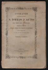 ONORANZE all'Angelico Dottore S. TOMMASO D'ACQUINO Genova 1874