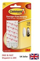 3M Command Large Strips Picture Poster Hangers Hook Replacement Refill 17023P