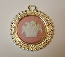 "Wedgwood Jewelry  Silver-Plated Pendant- ""Basket of Flowers"" Pink Jasperware"