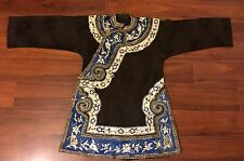 Antique Chinese Silk Black Robe Fine Hand Embroidery Textil Brocade Qing Dynasty
