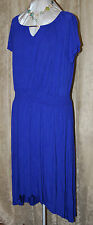 LOVE CARSON KRESSLEY SO PRETTY MAXI DRESS WITH SHIRRED WAIST GOLD BAR TRIM BLUE
