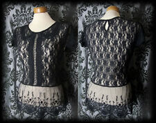 Gothic Black Lace Peter Pan Collar DEADLY DOLL Blouse Top 12 14 Victorian Lolita