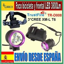 FARO FOCO LUZ LED TRUSTFIRE TR-D008 3*CREE XM-L T6 3800LM BICICLETA FRONTAL