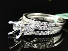 Womens 18K White Gold Diamond Princess Cut Semi Mount Brial Wedding Ring Set