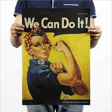 We Can Do It ! Vintage Home Bar Decor Wall Chart Kraft Paper Retro Poster