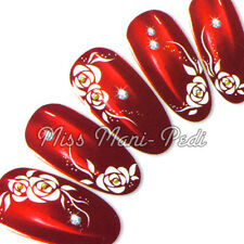 Nail Art Water Decals Transfers Stickers Wraps White Roses Dots Flowers Y002