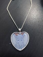Silver Plated Heart Pendant Necklace Disney Dumbo Elephant Cute Baby