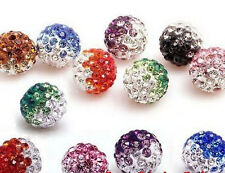 Mix 10pcs 10mm Disco Ball Pave CZ Crystal Heart bead gradient fit Rhinestone A08