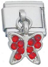 Italian charm July dangle butterfly  9mm classic link    (AA30)