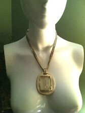 Chico's Muted Metal & Frosted Glass Pendant Box Chain Multi Strand Necklace