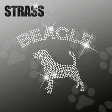 "Strass Steine Sticker Applikation Hund ""Beagle"" Bügelbild, HotFix, ca. 20x15cm"