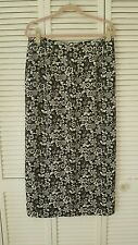 Madison Gray size 16 or 1X black white floral print long silk lined skirt
