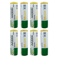8pcs AA 2A 3000 (Actual 300mAh) 1.2V Ni-MH Rechargeable Battery Cell BTY Green