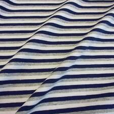 Stoff Meterware Baumwolle Jersey Streifen grau weiß blau Ringeljersey gestreift