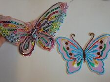 2 butterfly sequin applique patch motif iron sew on embellishment hotfix UK -13
