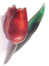 Vintage Hroar PRYDZ Norway Sterling+Enamel 3-D Tulip Pin~Norwegian Flower Brooch