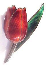 Vintage Hroar PRYDZ Norway Sterling+Enamel 3-D Tulip Pin~Norwegian Flower Brooch